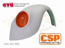 Spatbord vooraan in GFK standaard breedte liggende koplamp